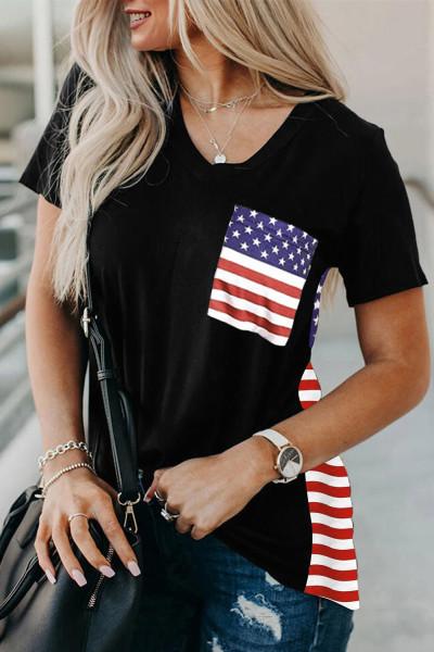 USA Flag Εκτύπωση μπλουζάκι