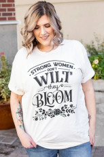 Strong Women Bloom Grapic Plus Size Tee