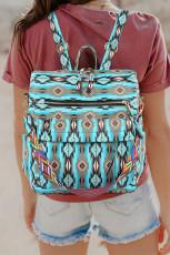 حقيبة ظهر ذات سعة كبيرة بطبعة أزتيك زرقاء