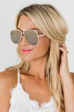 Golden Metal Frame Aviator Sunglasses