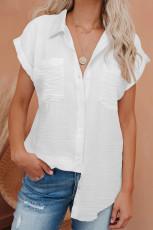 Camisa de mangas curtas com botão de linho branco