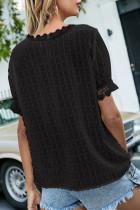 Top de manga curta com costura preta com decote em v Swiss Dot