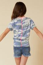 リトルガールコントラストトリムカモプリントTシャツノット付き