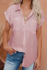 Розовая льняная рубашка с короткими рукавами на пуговицах