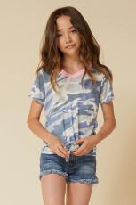 T-shirt Little Girl Contrast Trim Camo z nadrukiem i węzłem