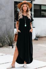 Czarna luźna sukienka maxi z mieszanki bawełny, z dekoltem w szpic i rozcięciami