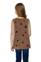 Camiseta sin mangas de niña pequeña con estampado de estrellas marrón