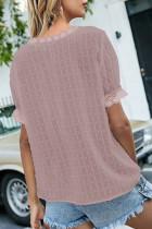 Top de manga curta com costura em renda rosa com decote em V Swiss Dot