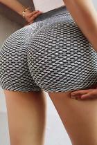 สายรัดด้านข้างสีเทาป้องกันเซลลูไลท์เอวสูงกางเกงขาสั้นยกก้น
