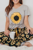 Sunflower hello sunshine Print Tee and Pants Lounge Set