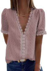 Розовый топ с короткими рукавами в горошек и V-образным вырезом из кружева с короткими рукавами