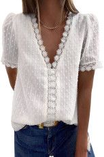 White Lace Splicing V-Neck Swiss Dot Short Sleeve Top