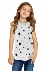 White Star Print Little Girl Tank