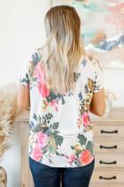 Camiseta com decote em V com estampa floral vintage