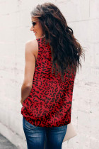 Red Leopard Print Ruffled Neck Tank Top