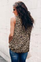 Camiseta de alças com estampa de leopardo com babados