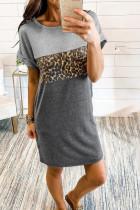 T-shirt mini sukienka Colorblock Leopard z wstawkami