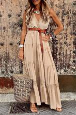 Vestido largo de tirantes sin mangas con empalme de encaje caqui