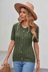 Top verde de manga corta de punto trenzado con botones