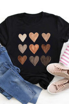 Camiseta negra con cuello redondo Be Kind Heart
