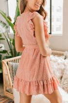Ροζ Polka Dot Εκτύπωση Αναστατωμένο μίνι φόρεμα με ζώνη