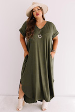 Army Green Plus Size V Neck Short Sleeve Maxi Dress with Slits