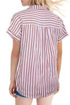 Ροζ μπλουζάκι με ρίγες με κοντό μανίκι