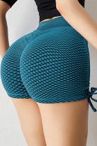 เชือกผูกด้านข้างสีเขียวป้องกันเซลลูไลท์กางเกงขาสั้นเอวสูง Scrunch Butt Lift