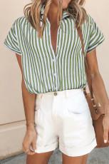 Blusa verde de manga curta abotoada listrada estampada