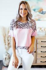 Tricou de blocare a culorilor cu imprimeu leopard roz roz