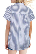 Μπλούζα με μπλε ριγέ μπλουζάκι με κοντό μανίκι