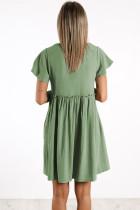 Sage V Neck Buttoned Empire Waist Babydoll Mini Dress