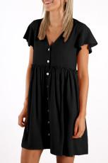 Μαύρο φόρεμα με λαιμόκοψη και λαιμόκοψη με μίνι φόρεμα
