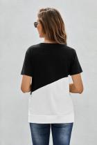 ブラッククルーネックカラーブロックTシャツ