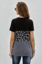 Tricou cu mânecă scurtă color block cu imprimeu leopard