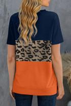 เสื้อยืดแขนสั้นพิมพ์ลายเสือดาวสีน้ำเงิน