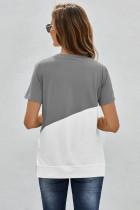 Grijs T-shirt met ronde hals en kleurvlakken