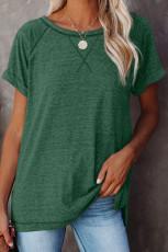 グリーンヘザーラウンドネックTシャツ