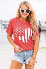 เสื้อยืดลายกราฟฟิค American Flag Heart