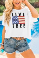 ライブ無料フラッグプリントクロップドTシャツ