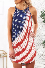Αμερικανική σημαία Stars Stripes Tie-dye Halter Ασύμμετρο μίνι φόρεμα