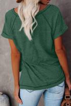 Tricou verde cu gât rotund Heathered