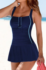 Blue Lace up Ruched Bodyshaper Tummy Control Swimdress