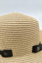 หมวกฟางปีกกว้างฤดูร้อนพับได้สีเบจ