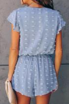 เสื้อแขนสั้นคอวีลึกสีฟ้าลายจุดพื้นผิว