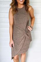 Khaki Crew Neck αμάνικο πλευρικό κόμπο Ανώμαλο πλεκτό μίνι φόρεμα