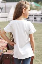 T-shirt dziewczęcy w białe paski Colorblock
