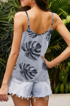 Tropical Leaf Pattern Tank Top