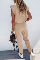 Apricot Casual Knitted Sleeveless and Pants Set