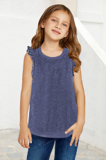 Blue Ruffled Little Girl Tank